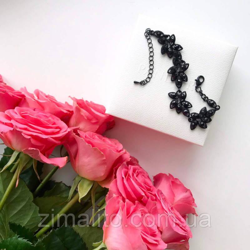 Браслет черный Айза с черными камнями