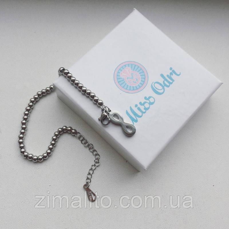 Браслет серебристый в стиле Tiffany с подвеской Бесконечность