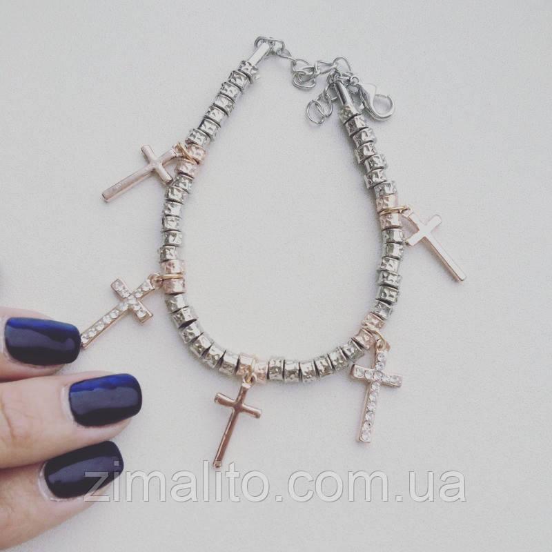Браслет золотистый в стиле D&G с подвесками Кресты