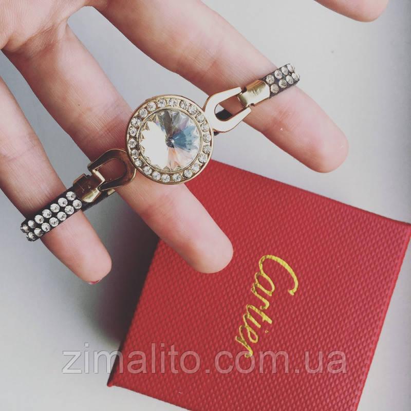 Браслет золотистый Крупный алмаз с белым камнем и стразами