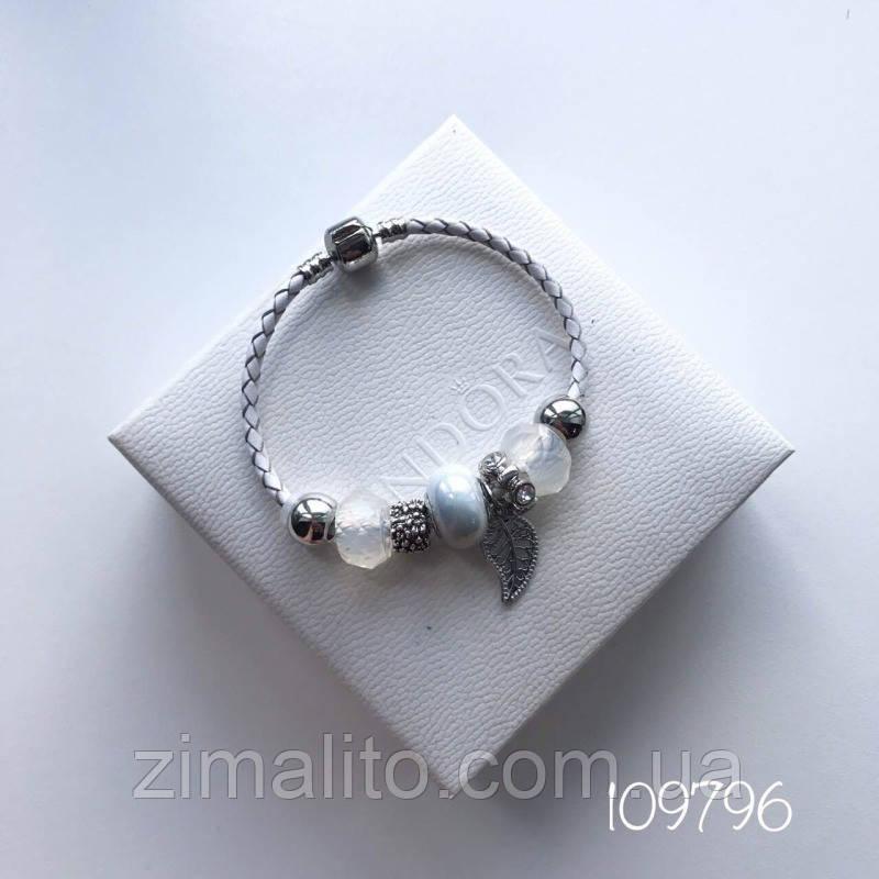Браслет реплика Pandora перо серый