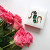 Браслет серебристый Полли с зелеными камнями и белыми стразами, фото 2