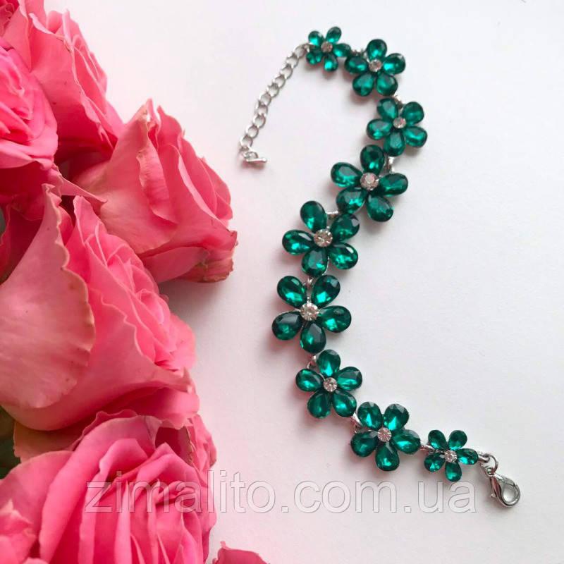 Браслет серебристый Цветы с зелеными камнями