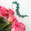 Браслет серебристый Цветы с зелеными камнями, фото 2
