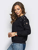 Женский стильный свитшот на флисе,цвет чёрный, фото 1