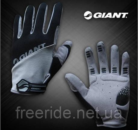 Велоперчатки GIANT целый палец (XL) сер/черные , фото 2