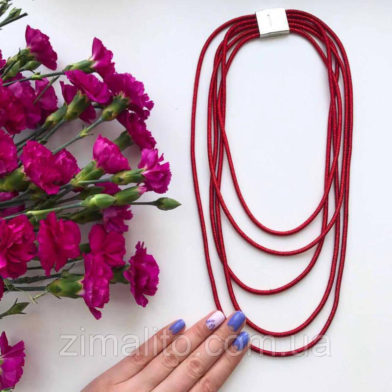 Колье плетенное люриксом Эмма красное
