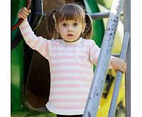 Кофта с кармашком для девочки (бело-розовая полоска)