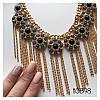 Колье золотистое Бони с цепочками с черными камнями, фото 3