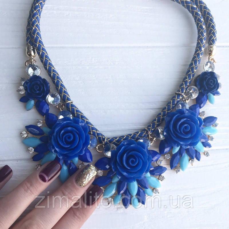 Колье на синем канатике Цветы Синие со стразами