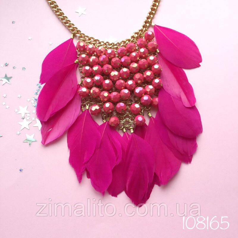 Колье в Греческом стиле с розовыми перьями и бусами