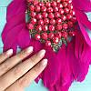 Колье в Греческом стиле с розовыми перьями и бусами, фото 3