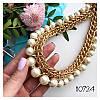 Колье цепь золотистая Ким с бусинами белыми, фото 3