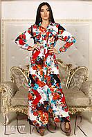 Длинное платье с принтом на пуговицах
