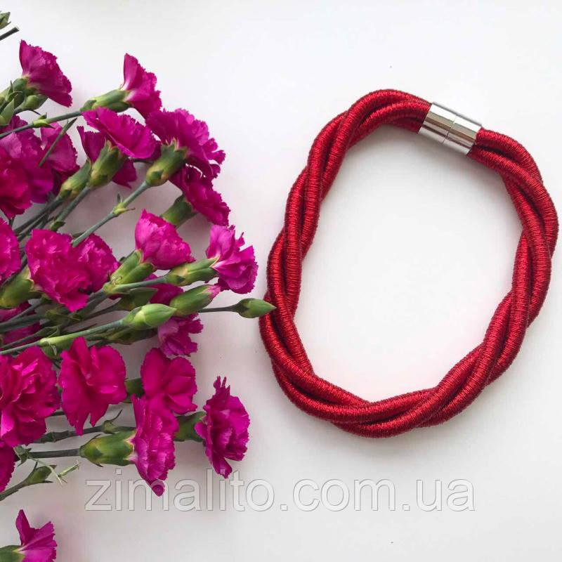 Колье плетеное люриксом Orny красное