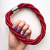 Колье плетеное люриксом Orny красное, фото 2