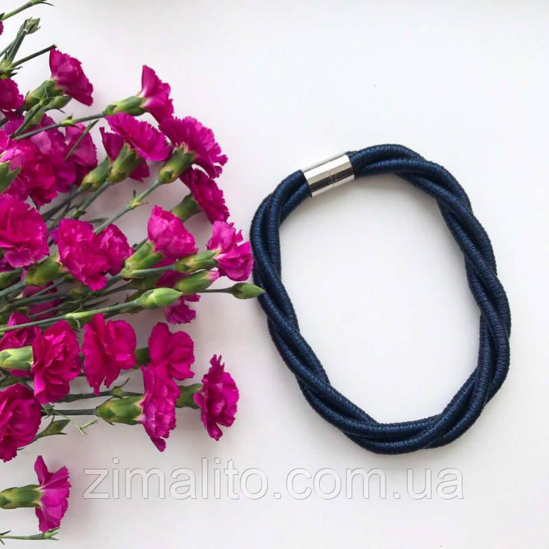 Колье плетеное люриксом Orny синее
