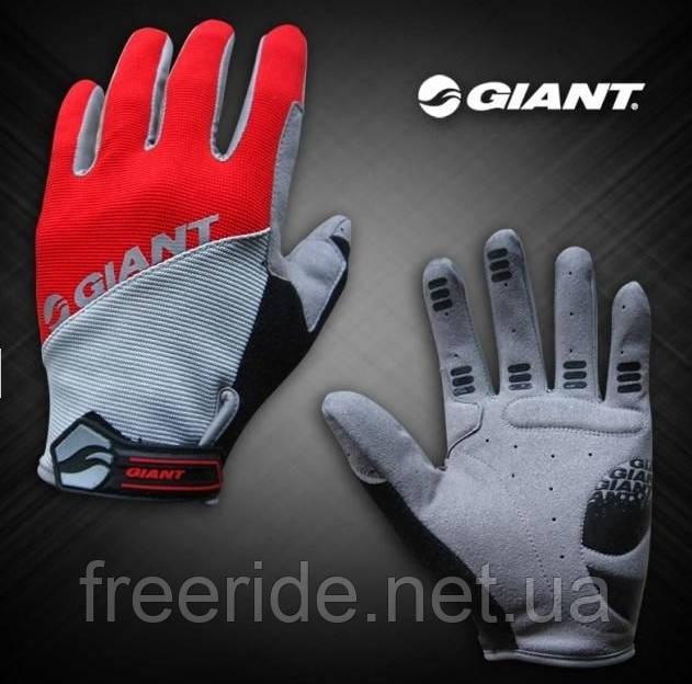 Велоперчатки GIANT целый палец (L) сер/красные