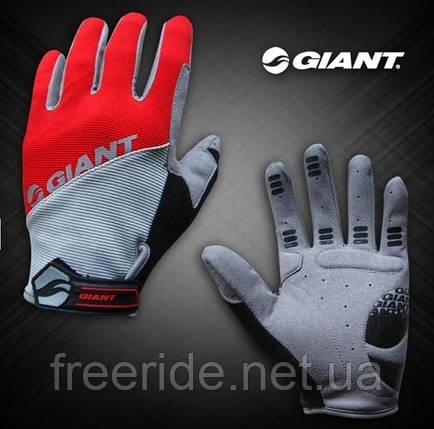 Велоперчатки GIANT целый палец (L) сер/красные , фото 2