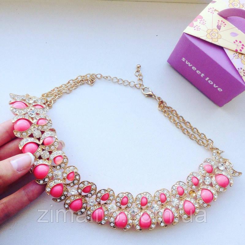 Колье золотистое Маракеш с розовыми бусинами и стразами