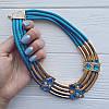 Колье золотистое Тайны Египта голубое, фото 2