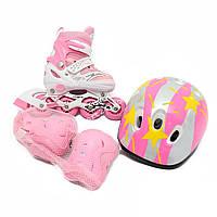 Комплект Maraton Combo (Маратон Комбо) (ролики, защита, шлем), розовый, S (28-33), М (34-38)