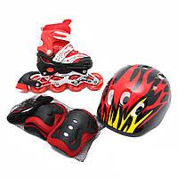 Комплект Maraton Combo (Маратон Комбо) (ролики, защита, шлем), красный, S (28-33), М (34-38)