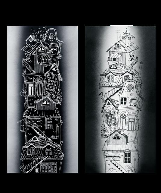 """Керамічний дизайн-обігрівач UDEN-S """"Містечко"""" (диптих)"""