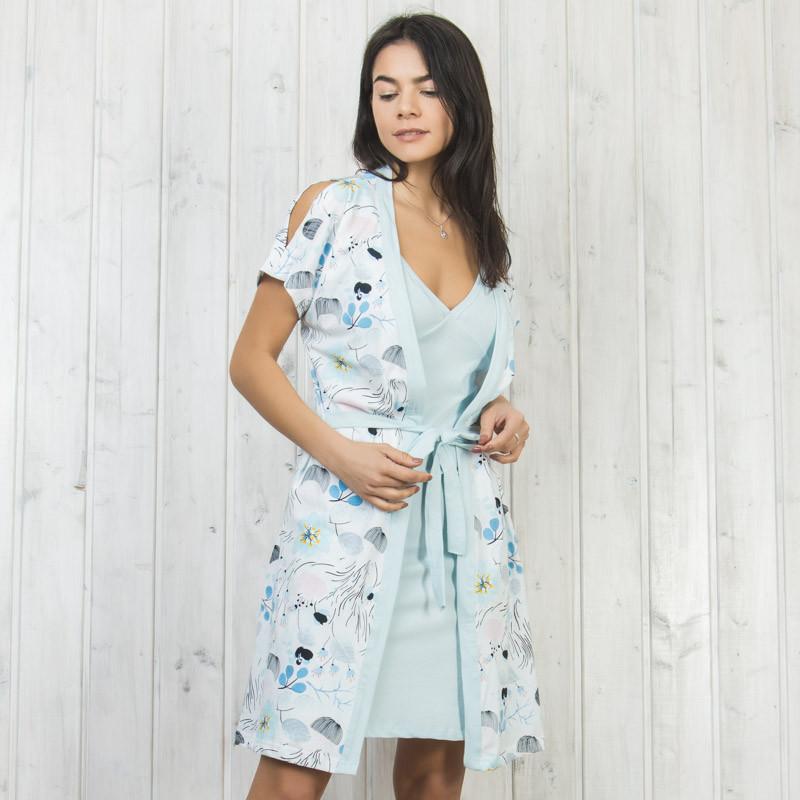 Комплект двойка женский: узорный халат и ночная рубашка Sexen Турция 05001