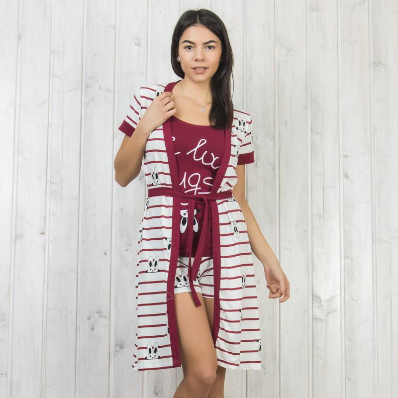 Бордовый комплект-тройка женский: халат, майка и шорты Sexen Турция 05015