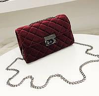 Женская сумка Chanelвелюр,мягкая на ощупь через плечо, люкс копия темно-бордовая