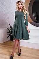 Трикотажное платье зеленого цвета Д-598