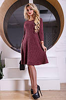 Трикотажное платье бордового цвета Д-522