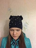 Трикотажная шапка со стразами для девочки