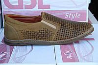 Летние мужские туфли из натуральной перфорированной кожи GSL S 01 Ол