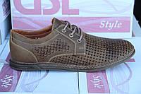 Летние мужские туфли из натуральной перфорированной кожи GSL S 02 Ол