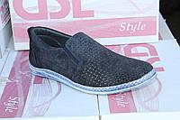 Летние мужские туфли из натуральной перфорированной кожи GSL S 01 Син