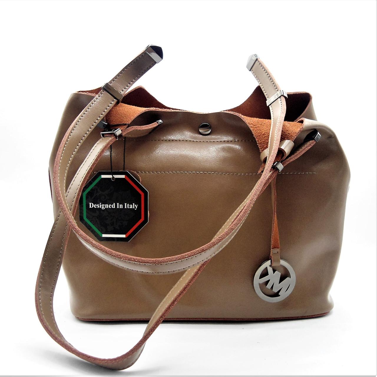 Модная женская сумочка MK из натуральной кожи бежевого цвета NFF-327220, фото 1