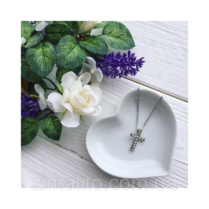 Подвеска крест серебро