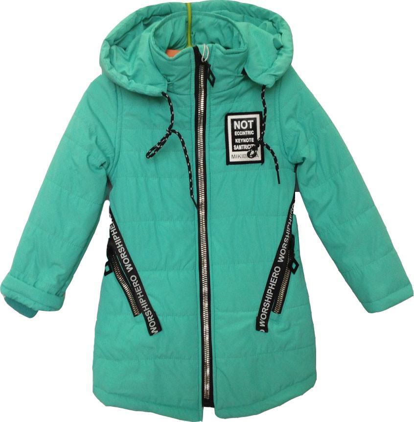 """Куртка детская демисезонная """"NoT"""" #L-8842 для девочек. 4-5-6-7-8 лет. Мята. Оптом."""