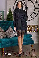 Платье-рубашка с кружевной юбкой