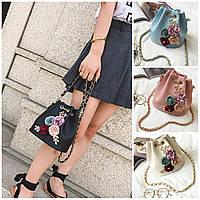 Женская сумка через плечо мини с цветами Flowers