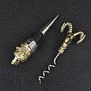 """Набор винный ручной работы """"Охотничий"""" (пробка + штопор), рукоять бронза , в подарочной коробке, фото 2"""