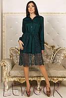 Оригинальное платье-рубашка с кружевом и поясом