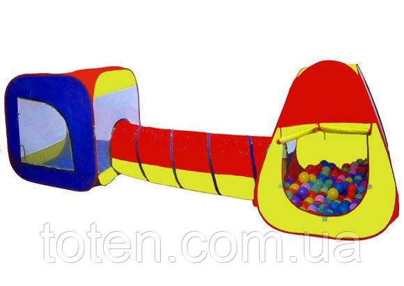 Детская большая палатка с тоннелем 5025. Размеры палатки: 315 х 85 х 102 см