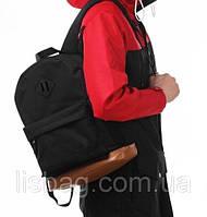 Однотонный черный рюкзак с коричневым дном оксфорд
