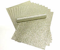 Бумага с глиттером (блестками) Светлое-золото Самоклейка 20x30 см А4 1 шт