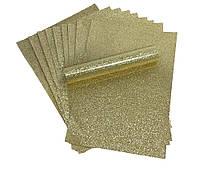 Бумага с глиттером (блестками) Золотая самоклейка 20x30 см А4 1 шт