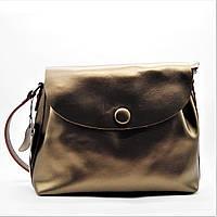 Женская сумочка из натуральной кожи с пуговицей золотистого цвета GIM-060377, фото 1