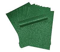 Бумага с глиттером (блестками) Зеленая самоклейка 20x30 см А4 1 шт